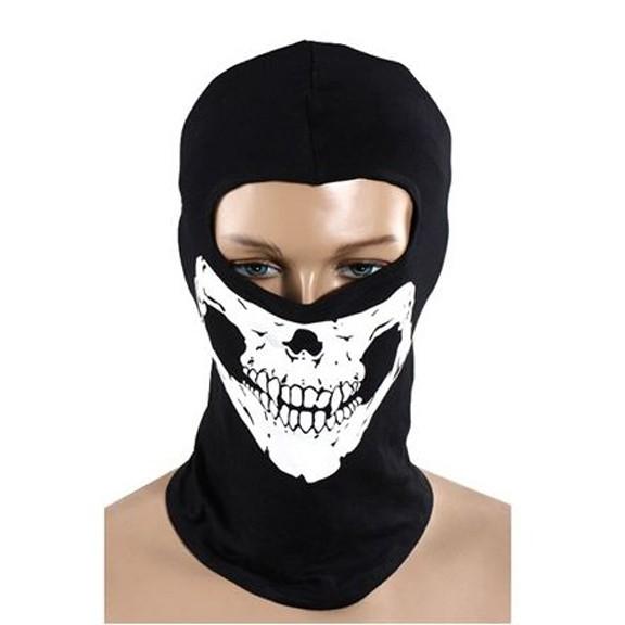 Маска Череп - 100% полиэстерМаски<br>Маска-балаклава с черепом из натурального хлопка. Защищает от ветра и морозного воздуха. Всесезонная маска череп для туризма, пейнтбола, военных игр и тренировок. Удобный пошив, не слезает с головы. Защищает шею, нос, уши, рот.<br>