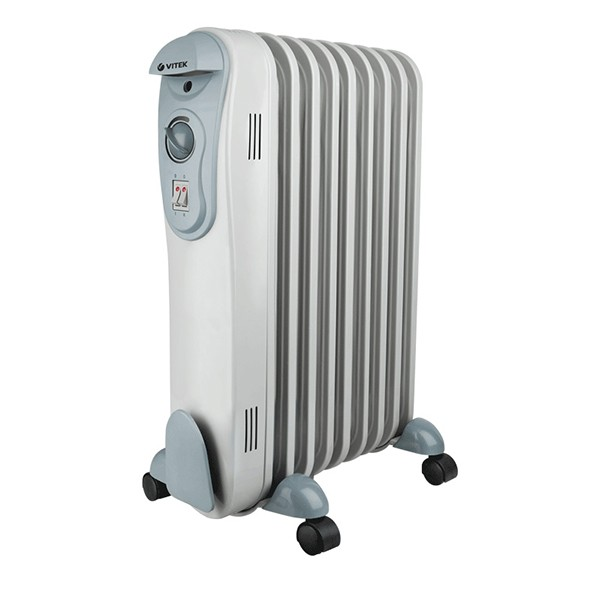 Радиатор Vitek VT-2122(GY)Радиаторы и обогреватели<br>Масляный радиатор Vitek VT-2122(GY) имеет классический тип секций и элегантный дизайн. Колесики предназначены для удобного перемещения обогревателя.<br>