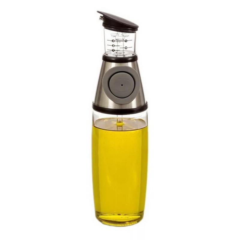 Диспенсер для масла и уксуса 500 млПрочее для хранения продуктов<br>Храните масло и уксус в удобной стеклянной таре и отмеряйте точное количество ингредиента в блюдо. Диспенсер с градуировкой чайных, столовых ложек, миллилитров. Подача масла/уксуса с помощью кнопки.<br>
