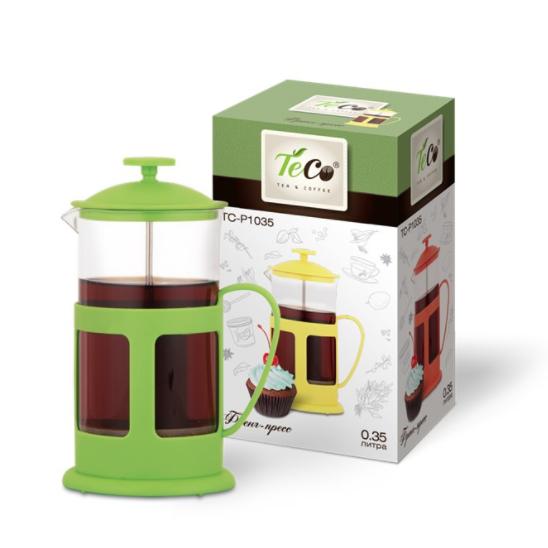 Френч-пресс TECO 350 мл, зеленыйЧайники заварочные и френч-прессы<br>Френч-пресс «Teco» с корпусом из стекла и пластика предназначен для заваривания чая, приготовления кофе и других напитков. Колба изготовлена из жаропрочного стекла и имеет практичный носик, что препятствует образованию подтеков и делает френч-пресс еще более удобным в обращении.<br>