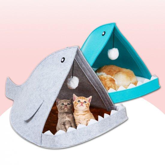 Домик для домашних животных - Акула, серый