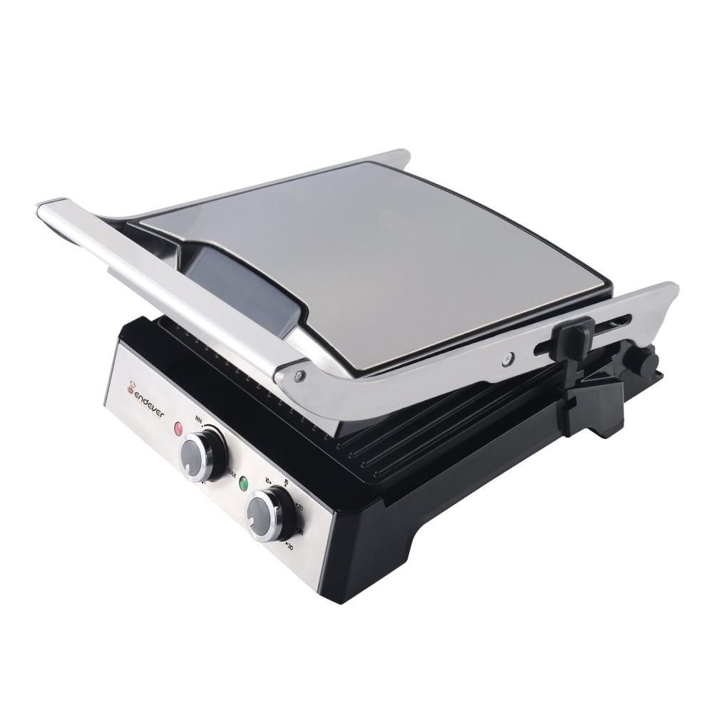 Электрический пресс-гриль ENDEVER 230-GrillmasterГрили<br>Электрогриль Endever Grillmaster 230 – это современный кухонный помощник для приготовления полезных блюд с минимальным добавлением жира. Две нагревающиеся панели можно использовать в раскрытом состоянии или закрыть, чтобы придавить продукт и равномерно обжарить его с обеих сторон без переворачивания.<br>