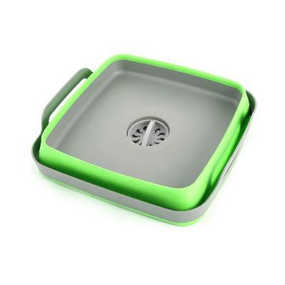 Корзина-раковина пластиковая складная с ручками, зелёный