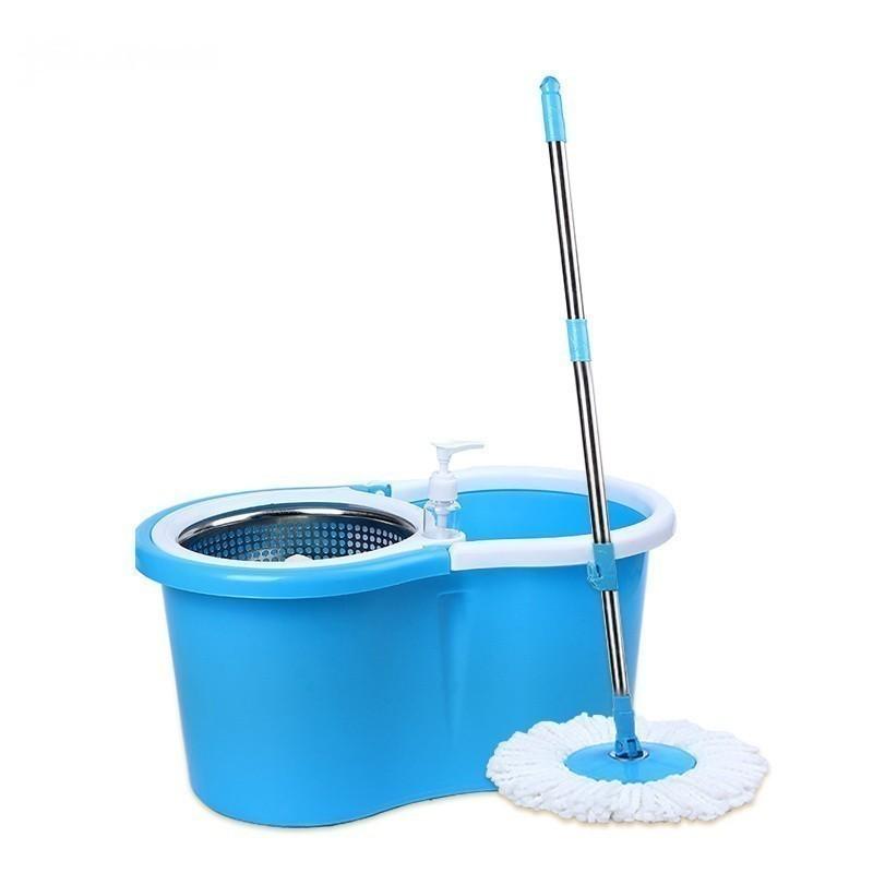 Набор для уборки: ведро с металлической центрифугой, швабра, запасная насадка, цвет микс