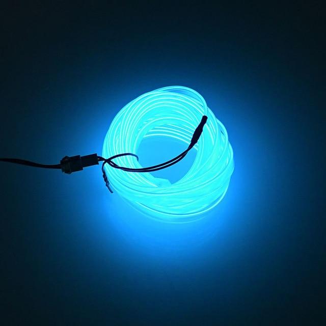 Светящаяся лента — тюнинг для автомобильного салона, 5 м, голубой