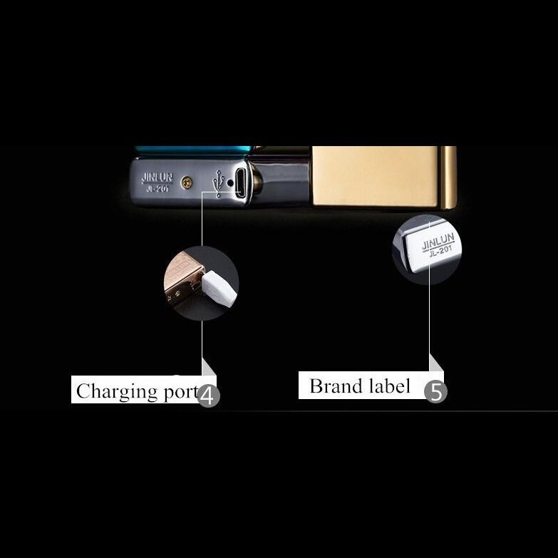 USB зажигалка электроимпульсная - синий глянец
