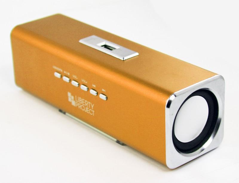 Колонки портативные «LP» K-101 Золото (Металл+3,5 мм+USB+microSD+заменяемый АКБ+FM радио) (коробка)