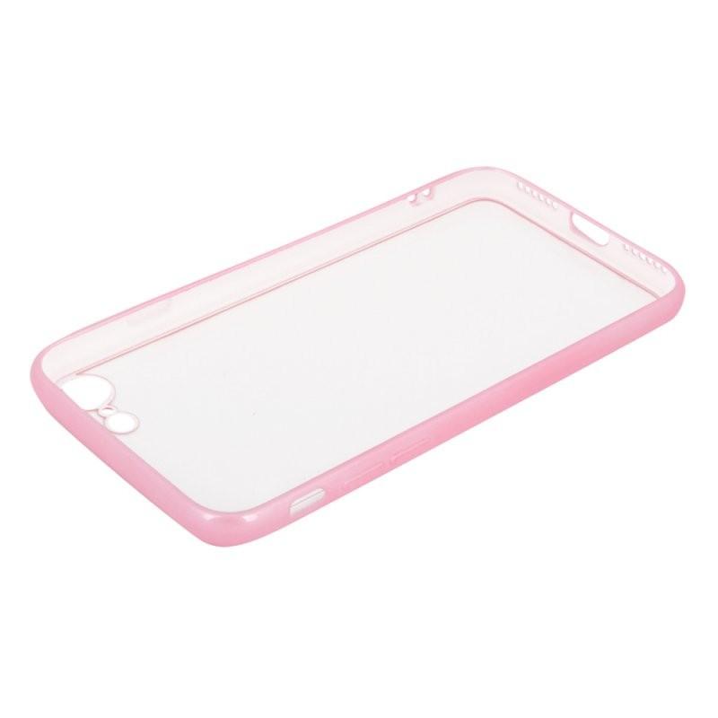 Защитная крышка «LP» для iPhone SE 2/8/7 «Glass Case» с розовой рамкой (прозрачное стекло/коробка)