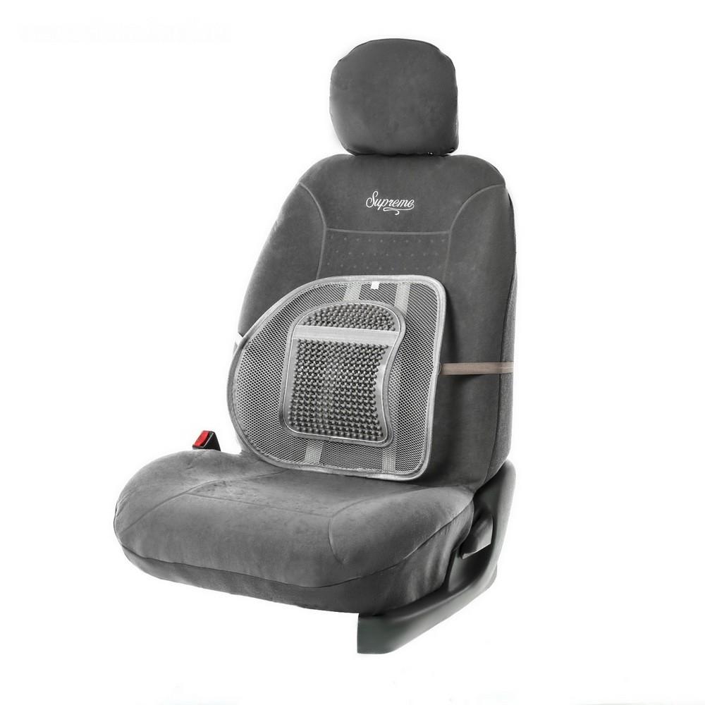 Ортопедическая спинка с вертикальным увеличенным массажером на сиденье, 38 x 39 см, серая