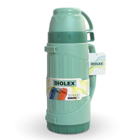 Термос Diolex пластиковый со стеклянной колбой 1800 мл, зеленыйТермосы<br>Термос Diolex DXP-1800-1-Gпрекрасно подходит для хранения горячих или холодных напитков. Корпус модели выполнен из высококачественного пластика, а колба из стекла. Данный материал экологически чистый, безопасный и позволяет максимально сохранить полезные свойства и вкусовые качества воды.<br>