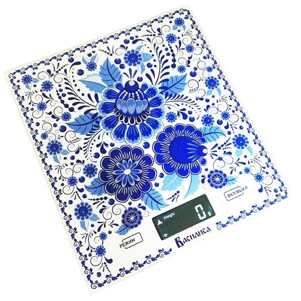 Весы настольные электронные ВАСИЛИСА ВА-005 Гжель : 5 кг, стекло (Россия)(12)