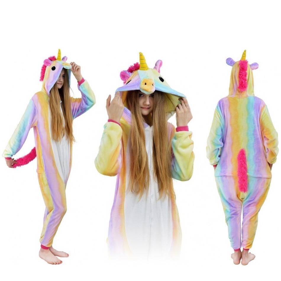 Пижама кигуруми Радужный единорог, детский, 135-140 см фото