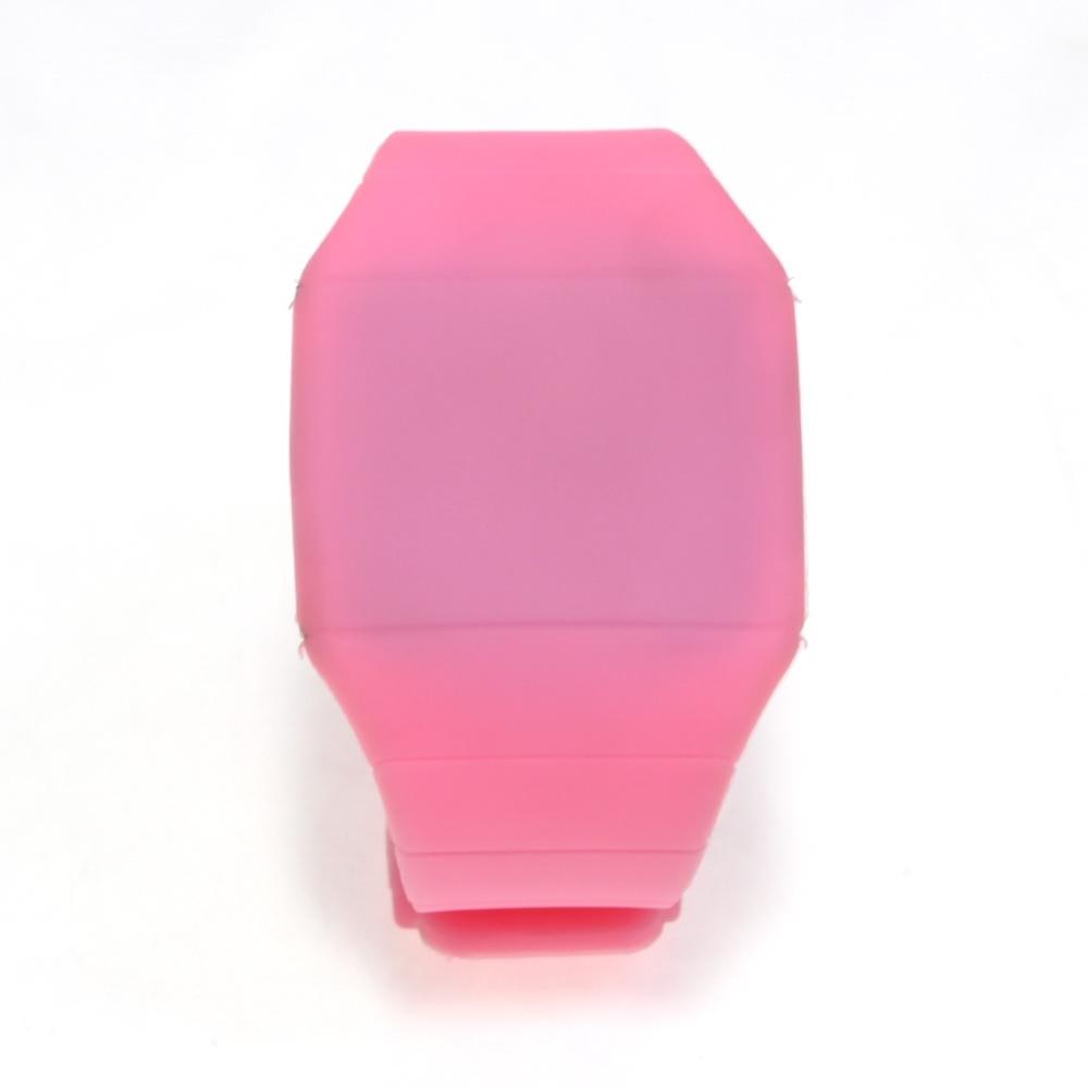 Ультратонкие силиконовые LED часы Nexer G1206, Квадратные, Розовый