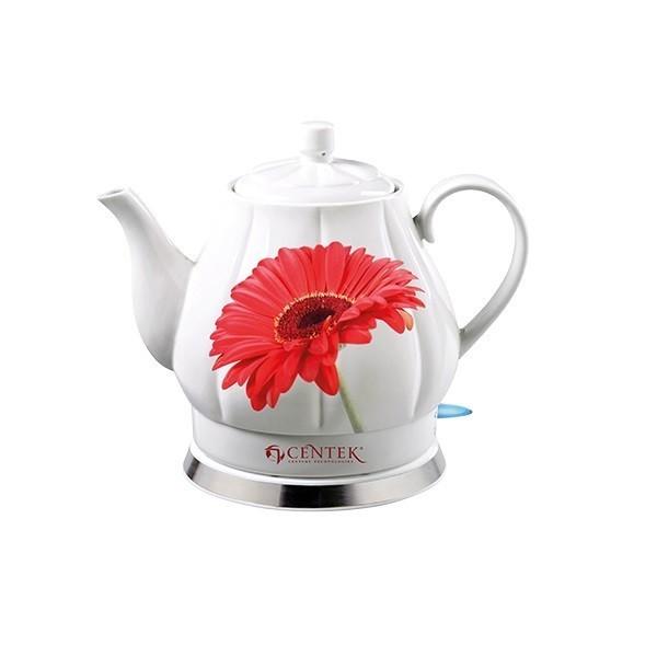 Чайник электрический Centek CT-0062, керамический, красная гербера, 2л, 2000Вт
