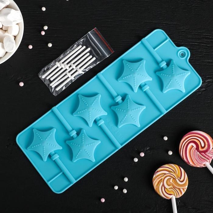 Форма для леденцов и мороженого - Звездочёт, 6 ячеек, цвета микс
