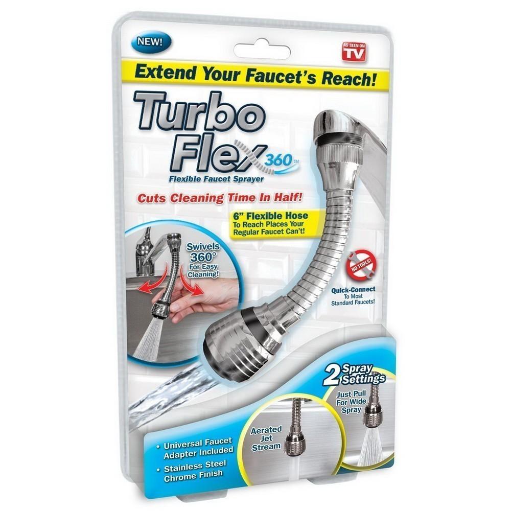 Гибкий шланг насадка на кран - Turbo Flex 360Насадки на кран и душ<br>Тратите много времени на мытье посуды? Сократить его на 50% позволит революционный гибкий шланг насадка на кран Turbo Flex 360. Аксессуар вращается на 360 градусов и подходит к любому стандартному крану. Эффект вас приятно удивит!<br>