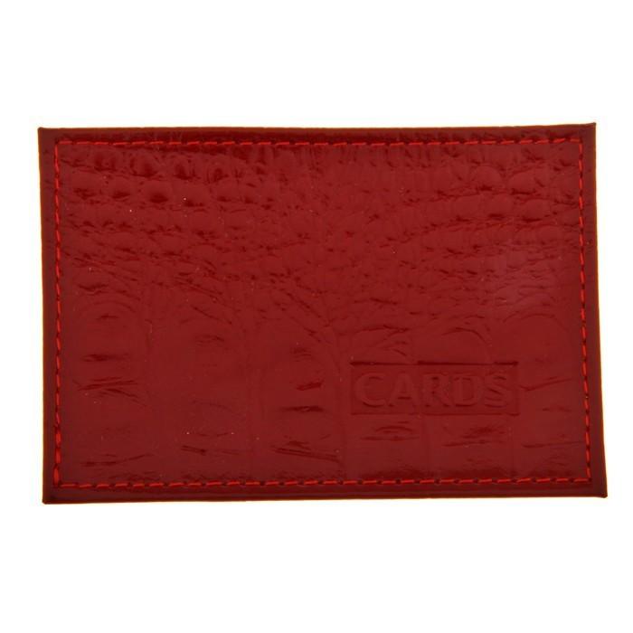 Футляр для банковской карты, кожа, Красный кайман фото