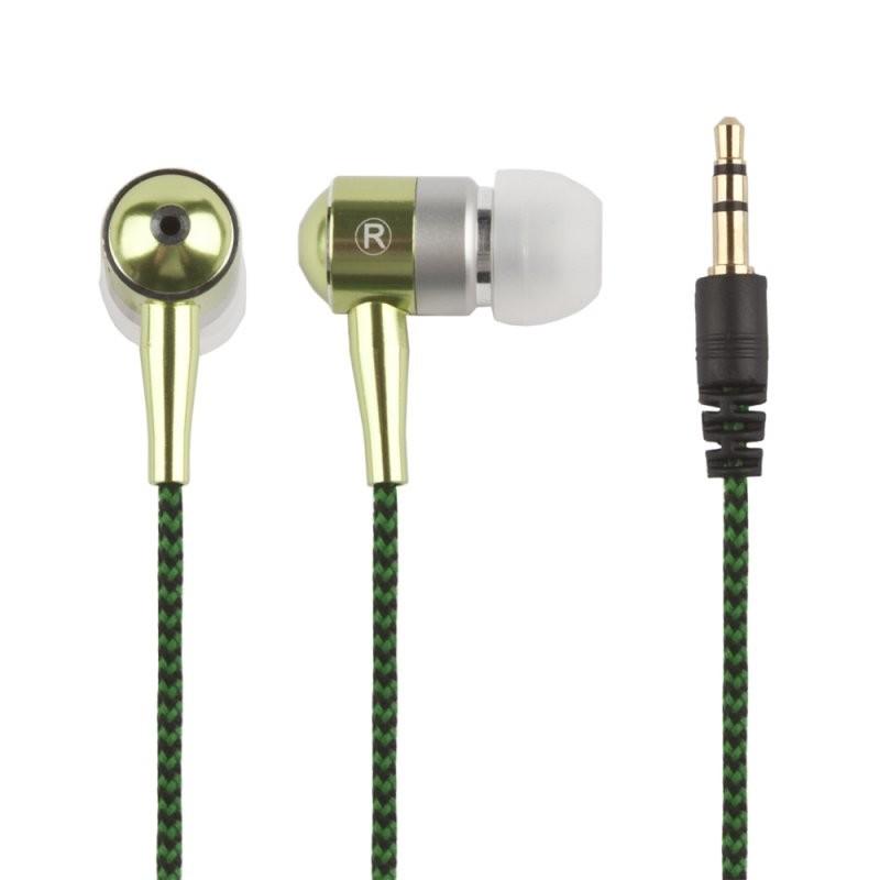 Наушники «LP» для MP3 плееров в алюминиевом корпусе разъем 3,5 мм. (вставные/зеленые)