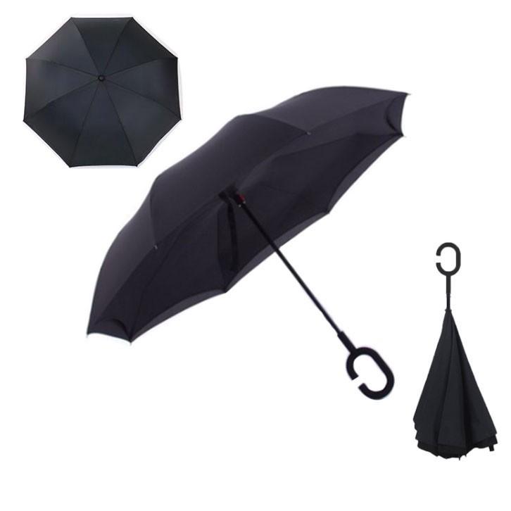 Зонт наоборот (обратный зонт) Up-brella, полуавтомат, черный