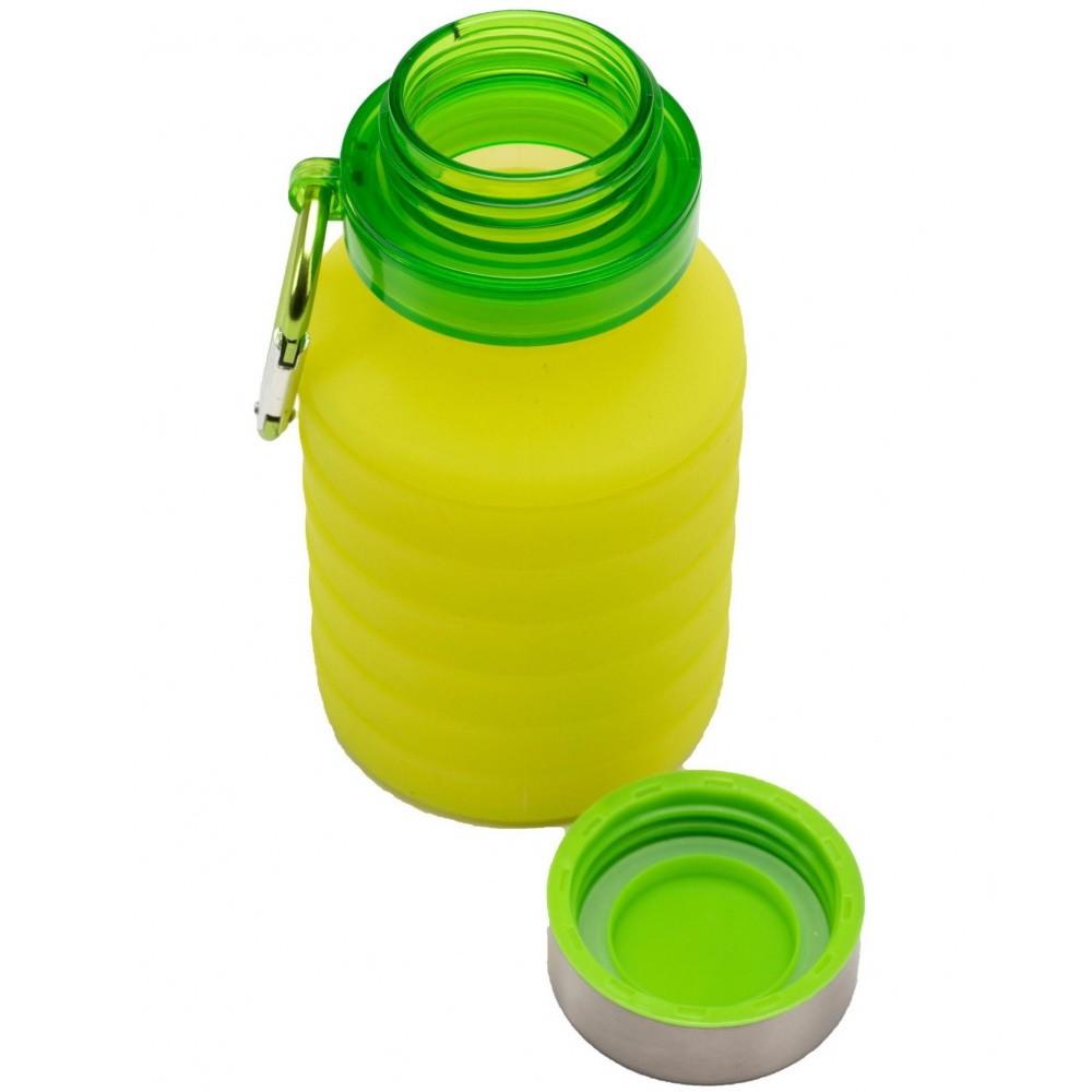 Бутылка для воды силиконовая складная с крышкой и карабином, 500 мл