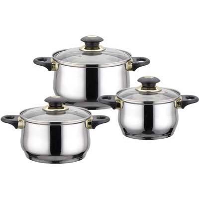 Кастрюля 6 пр. Jumbo Bekker BK-962Наборы посуды<br>Набор из кастрюль из нержавеющей стали со стеклянными крышками. В набор входят кастрюли 1,8 литра (диаметр 16 см), 2,1 литра (диаметр 18 см), 3 литра (диаметр 20 см). У кастрюль пластмассовые черные ручки. Капсулированное дно. Толщина стенки 0,5 мм, зеркальная поверхность.<br>
