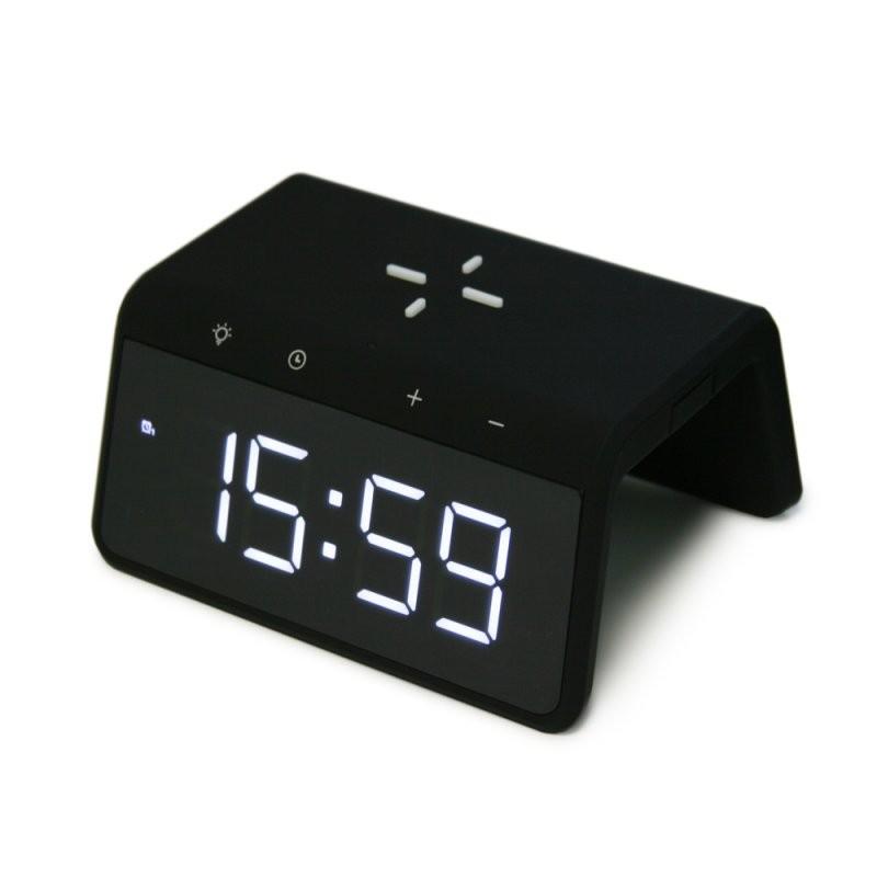 Беспроводное зарядное устройство Zetton часы будильник ночник (ZTSY-W0258QI10WACBLRU) черное
