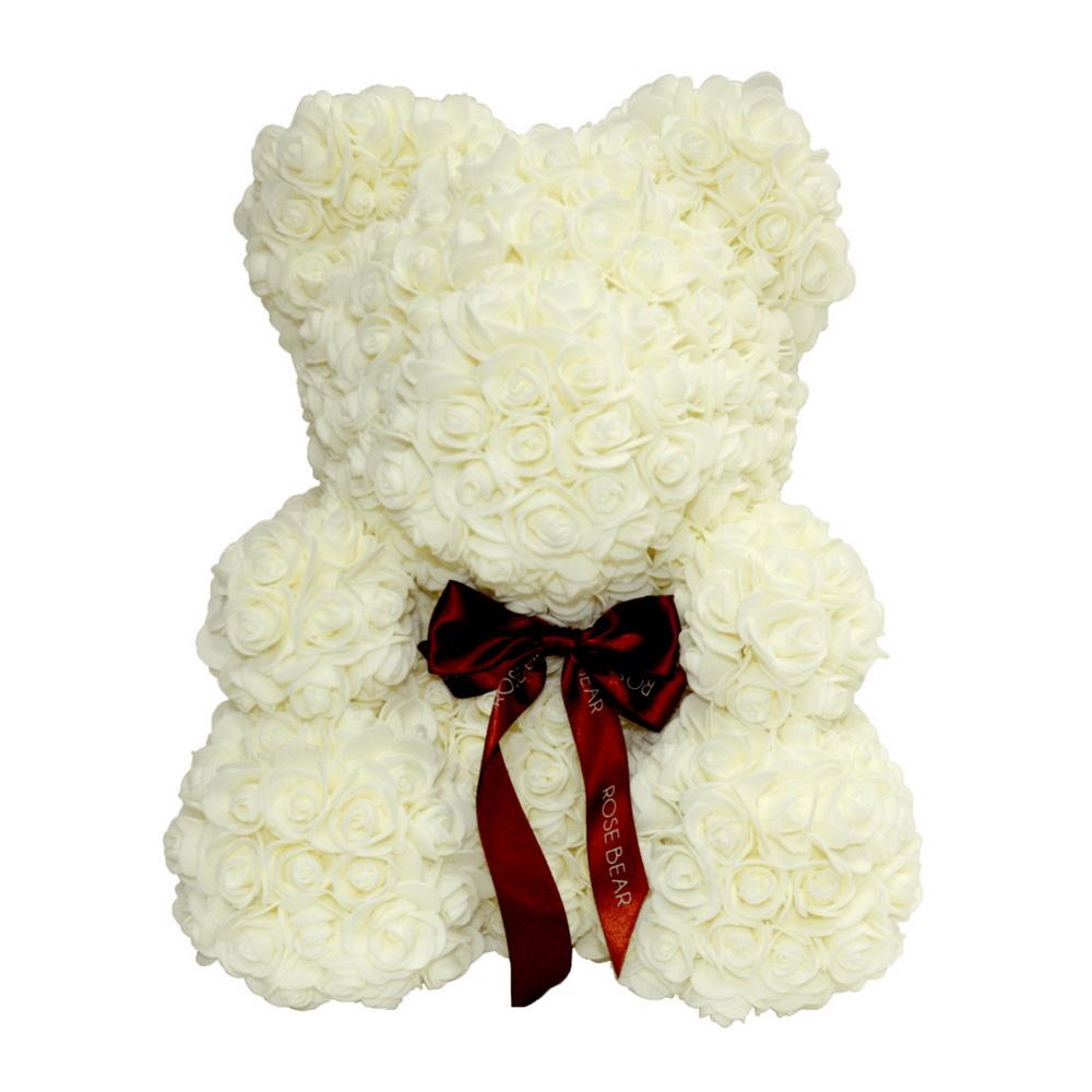 Мишка из роз с ленточкой (40 см), молочный