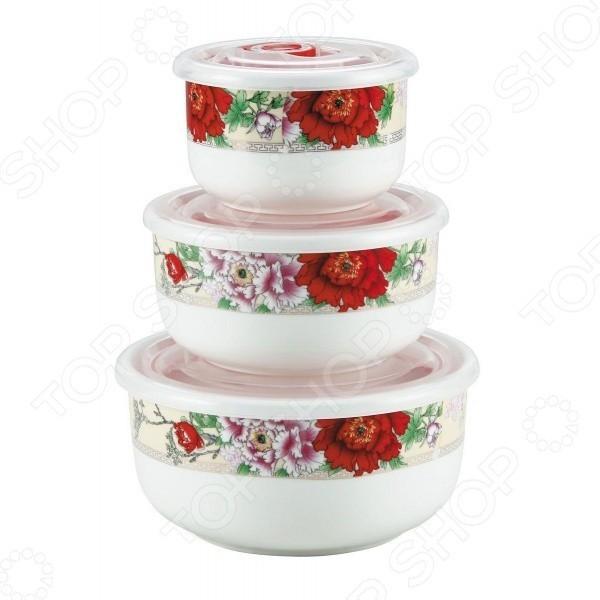Набор контейнеров Bekker 3шт с крышками BK-5116Ланч боксы и контейнеры для еды<br>Контейнеры выполнены из высококачественного фарфора, внешние стенки оформлены красочным орнаментом.<br>