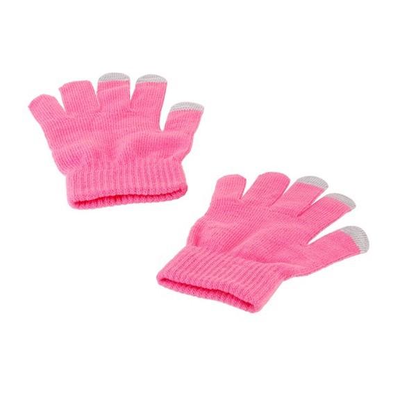 Перчатки для сенсорных экранов - розовые, 3 пальцаПерчатки для сенсорных экранов<br>Благодаря не царапающему токопроводящему материалу, вплетенному в кончики пальцев этих теплых, перчаток, Вы сможете не только сохранить руки в тепле, но и одновременно использовать все функции емкостных сенсорных экранов.<br>