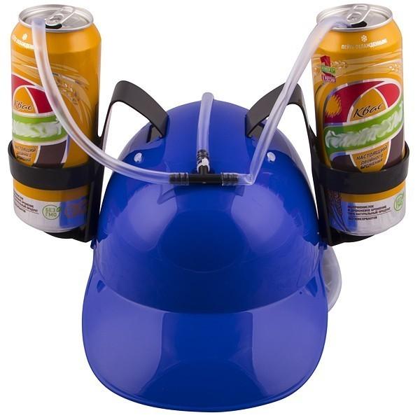 Купить Каска с подставкой под банки - Синяя, Товары для вечеринки