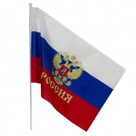 Флаг России с гербом на пластиковом древке, 90х65 см
