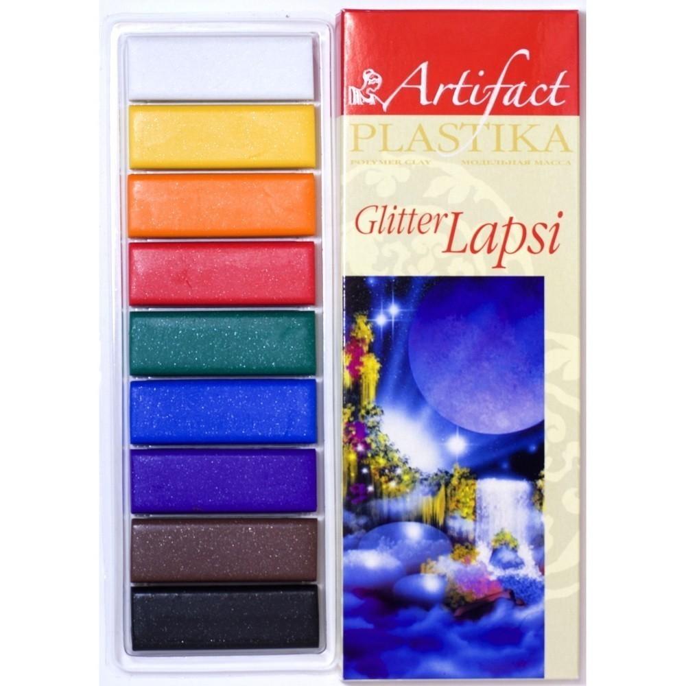 Пластика - полимерная глина набор LAPSI GLITTER 9 классических цветов с блестками, 180г