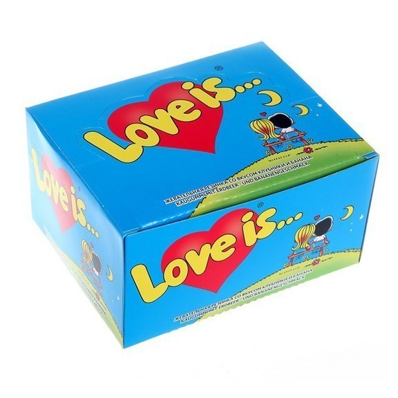 Жвачка Love is — клубника-банан (блок 100 шт)