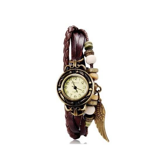 WOMAGE 630 модные женские часы браслет, коричневыеЖенские часы<br>Женские часы-браслет WOMAGE 630 - это великолепное сочетание тонких полос кожи, плетенки и нежного бронзового перышка.<br>