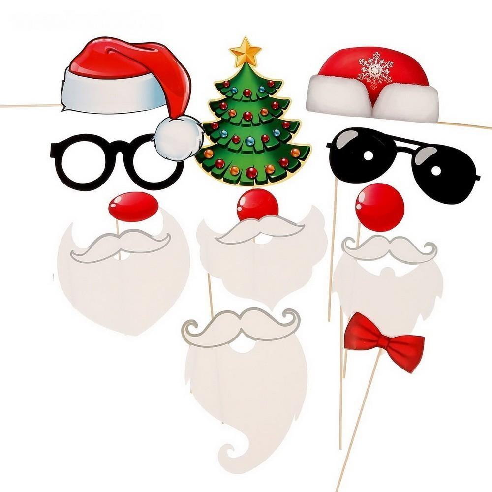 Набор фотобутафории — Веселые Деды Морозы, 12 предметов