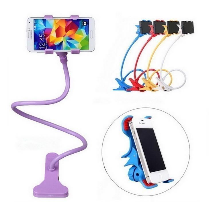 Гибкий держатель с прищепкой для телефонов и мини планшетов микс
