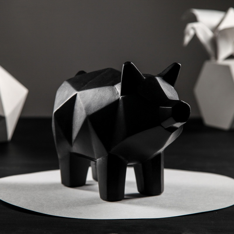 Копилка — Свинка оригами, 13 х 17 см, чёрный, Символ года 2019