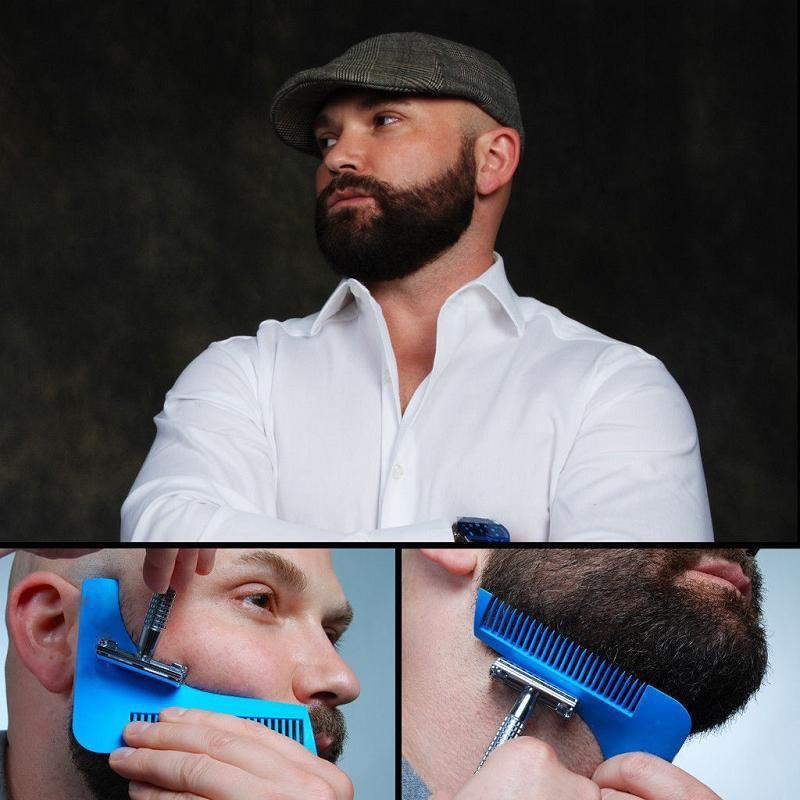 Расческа - шаблон для бритья бороды, синяя от MELEON