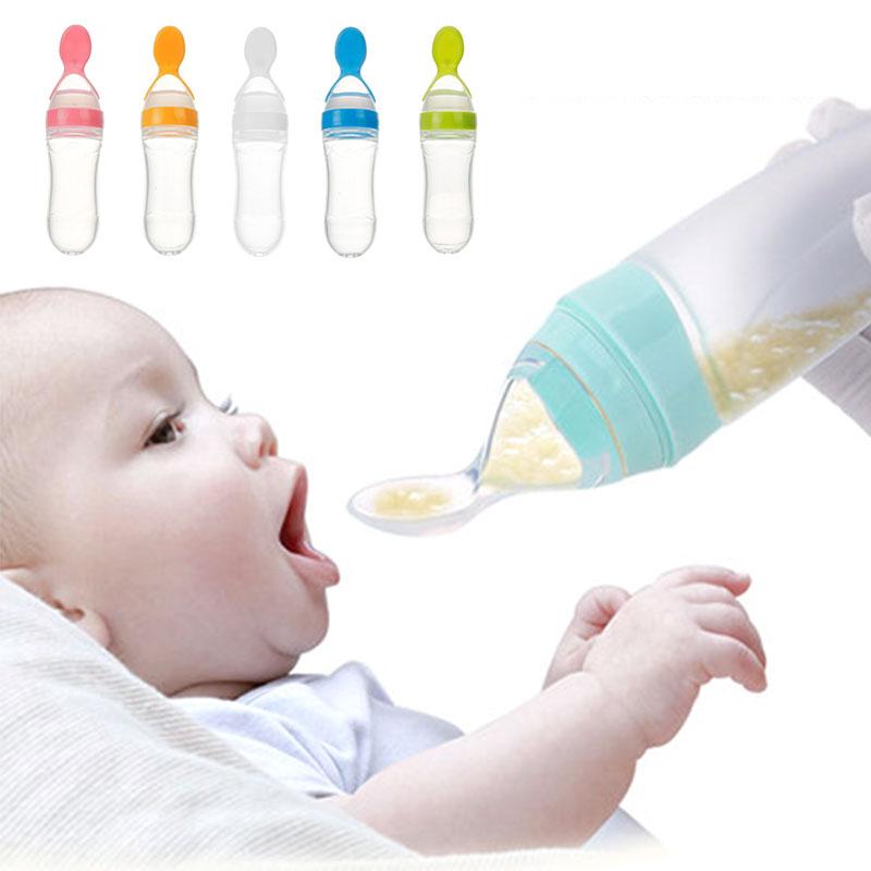 Бутылка с ложкой для безопасного прикорма, голубой