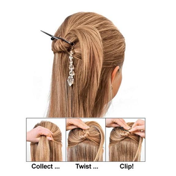 Заколка-клипса Twist N Clip - Твист энд КлипЗаколки и резинки<br>Чудесная заколка, которая превращает пучок волос в аккуратную прическу. При этом у вас уйдет ровно 30 секунд! Возможно ли такое? Конечно, читайте описание и отзывы о чудо-заколке.<br>