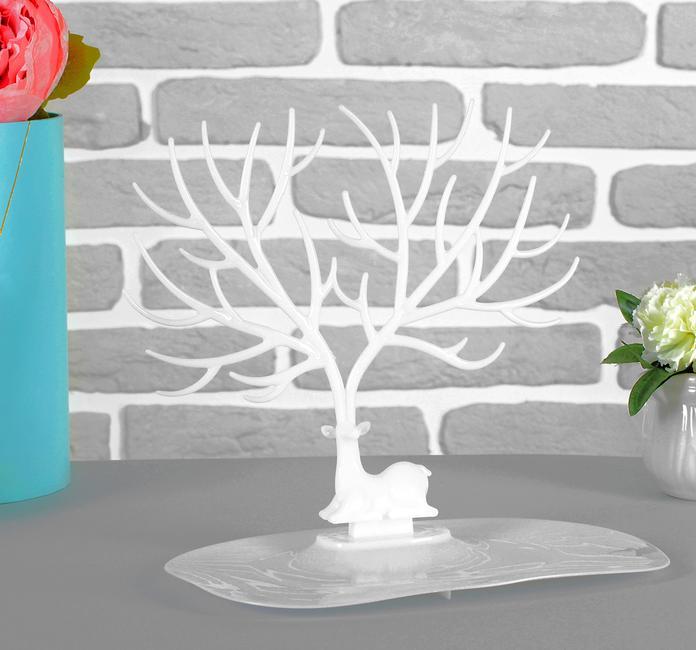 Подставка для украшений — Олень, 25-15-22 см, прямоугольное основание, белый