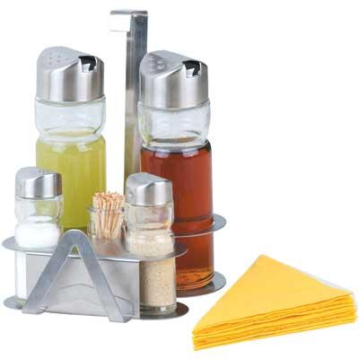 Набор для специй Bekker BK-3100Наборы для специй<br>Набор для специй Bekker BK-3100 прекрасно подойдет для хранения специй или сервировки праздничного стола. В комплекте 2 дозатора, солонка, перечница, изделие для зубочисток, салфетница и прочная металлическая подставка. Комплект позволит вам навести идеальный подарок в кухонном шкафчике!<br>