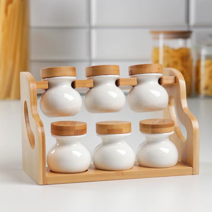 Набор банок для специй — Эстет, 6 шт, на деревянной подставке