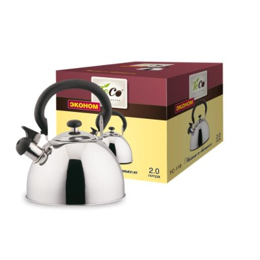 Чайник TECO 2,0 л. со свистком из нерж. стали TC-119Чайники металлические<br>Чайник оборудован свистком для определения закипания воды и изготовлен из высококачественной нержавеющей стали. Капсульное дно распределяет тепло равномерно по всей поверхности, что обеспечивает быструю скорость закипания.<br>
