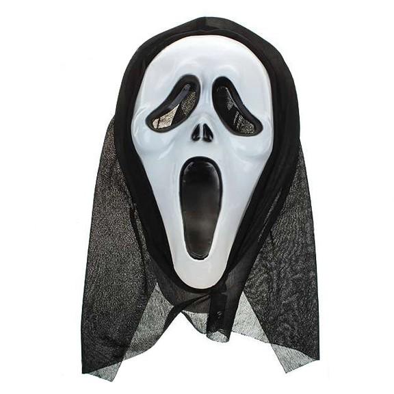 Маска из фильма «Крик»Маски<br>Посвящается всем фанатам режиссера Уэса Крейвена! Легендарный атрибут многосерийного фильма ужасов «Крик» - маска серийного маньяка. Универсальный размер, 100% копия маски из ужастика.<br>