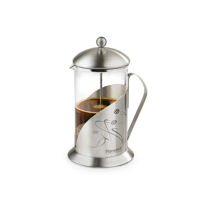 Френч-пресс 600мл Rondell Tasse 101RDSЧайники заварочные и френч-прессы<br>Изюминкой семейного застолья при традиционном чаепитии станет френч-пресс Rondell Tasse RDS-101. Элегантный рисунок на матированной внешней части френч-пресса станет настоящим стилем вашей кухни или гостиной, где вы предпочитаете чайную или кофейную церемонию. Жароустойчивая колба имеет специальную крышку, сберегающую тепло – эту деталь непременно высоко оценят ценители горячих напитков. При этом сама крышка не нагревается.<br>