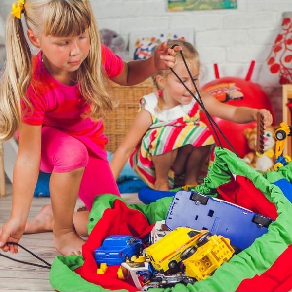 Сумка-коврик для игрушек Toy Bag, 100 см - сине-красный