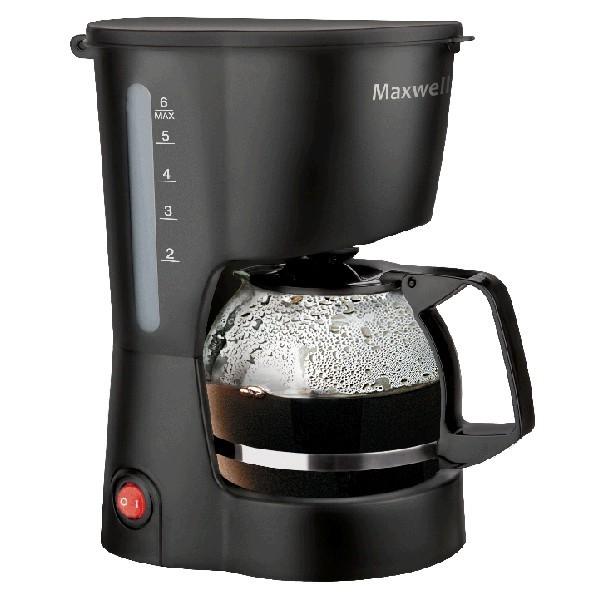 Кофеварка Maxwell 1657-MW(BK)Кофеварки и кофемашины<br>Капельная кофеварка MW-1657 BK от компании MAXWELL мощностью 600 Вт оснащается резервуаром для воды емкостью 0.6 литра.<br>