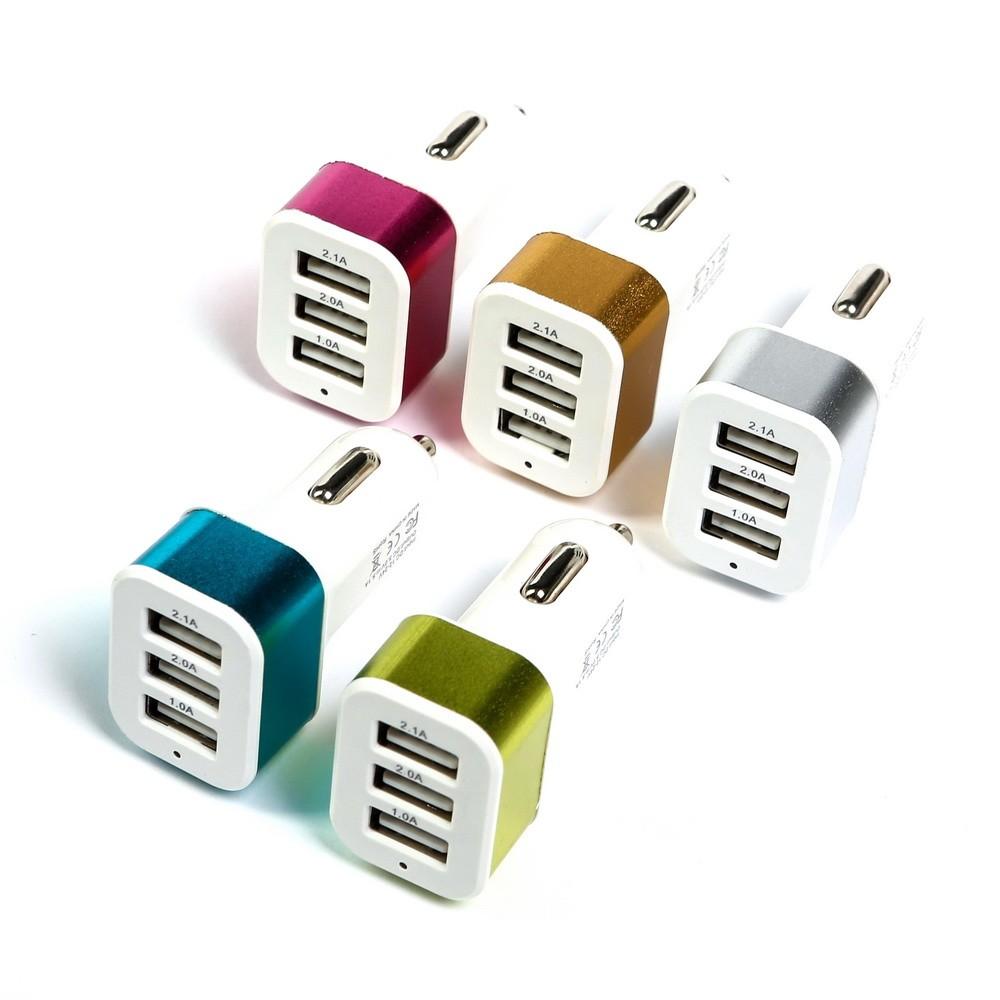 Автомобильное зарядное устройство Torso, 3 USB 1,0 Ах2 и 2,1 А, цвет микс