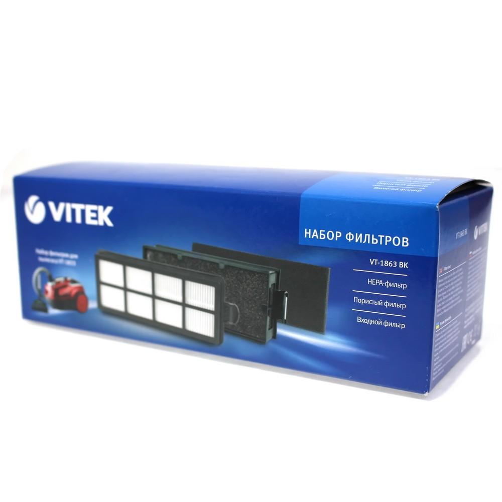 Набор фильтров для пылесосов Vitek VT-1833 и VT-1863Пылесосы и фильтры к ним<br>Надежные аксессуары для пылесоса VT-1863 – это залог качественной уборки дома. И комплект фильтров для пылесоса VT-1863 – это то, что нужно, если ваши фильтры сильно загрязнены и не способны справляться со своими функциями. В комплект входит НЕРА-фильтр, входной фильтр, а также пористый фильтр. В совокупности все фильтры прекрасно улавливают даже самые мельчайшие частицы пыли, часто являющиеся аллергенами. Замена фильтров – простое и легкое занятие, с которым без труда справится даже ребенок!<br>